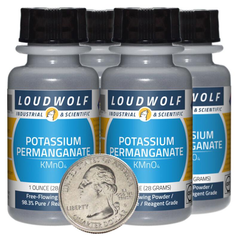 Potassium Permanganate / 4 Oz / 4 Bottles / 98.3% Reagent Grade / Flowing Powder