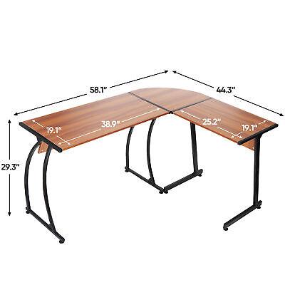 Modern L Shaped Corner Desk Laptop Study Writing Table Workstation Desk Walnut