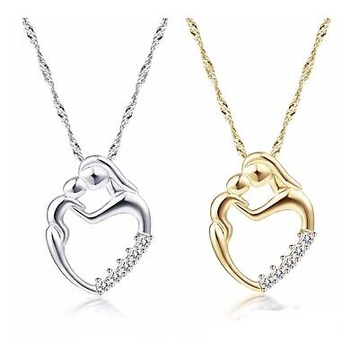 Mother Child Mom Son Daughter Heart Pendant Necklace Silver or Gold Plated (Gold Mother Child Jewelry)