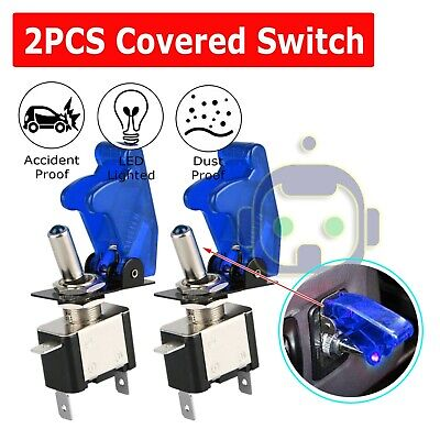 - 2X Blue Cover LED Toggle Switch Racing SPST ON/OFF 20A ATV 12V New For Car Truck