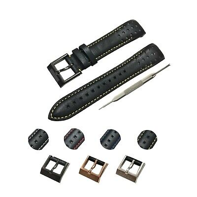 Seiko Black Strap (Fits For Seiko Sportura Watches 21mm Black(4 Colors) Genuine Leather Watch Strap )