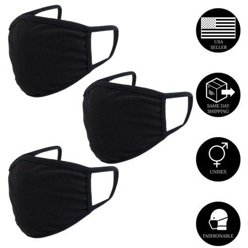 Cotton Face Masks Adult Black Reusable Washable Unisex- 3 Pack