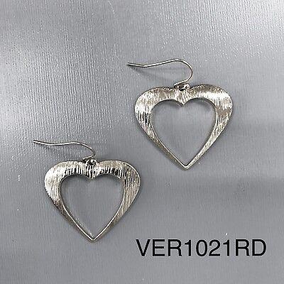 Silver Tone Finish Hammered Heart Cut Out Shape Design Drop Dangle Hook Earrings Cut Out Heart Design