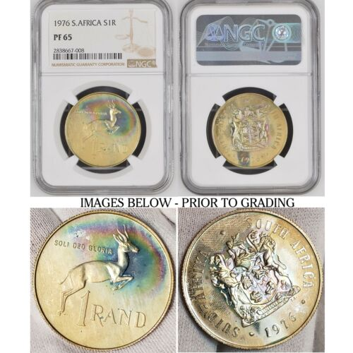 RAINBOW TONED 1976 South Africa SILVER 1 RAND  ngc PF65 SILVER PROOF R1