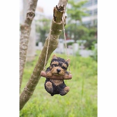(Hanging YORKSHIRE TERRIER Puppy Dog - Life Like Figurine Statue Home Garden NEW)