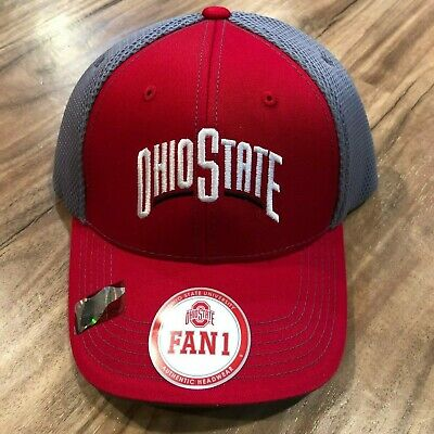 buy online 788e0 d926b FAN1 Ohio State Buckeyes OSU Red Gray Adjustable Hat