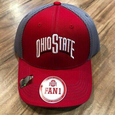 buy online c7ff6 9f678 FAN1 Ohio State Buckeyes OSU Red Gray Adjustable Hat