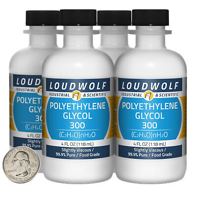 Polyethylene Glycol 300 16 Fl Oz 4 Bottles 99.9 Food Grade Usa