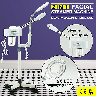 2 In 1 Facial Steamer Magnifying Lamp Professional Skin Care Salon Spa -
