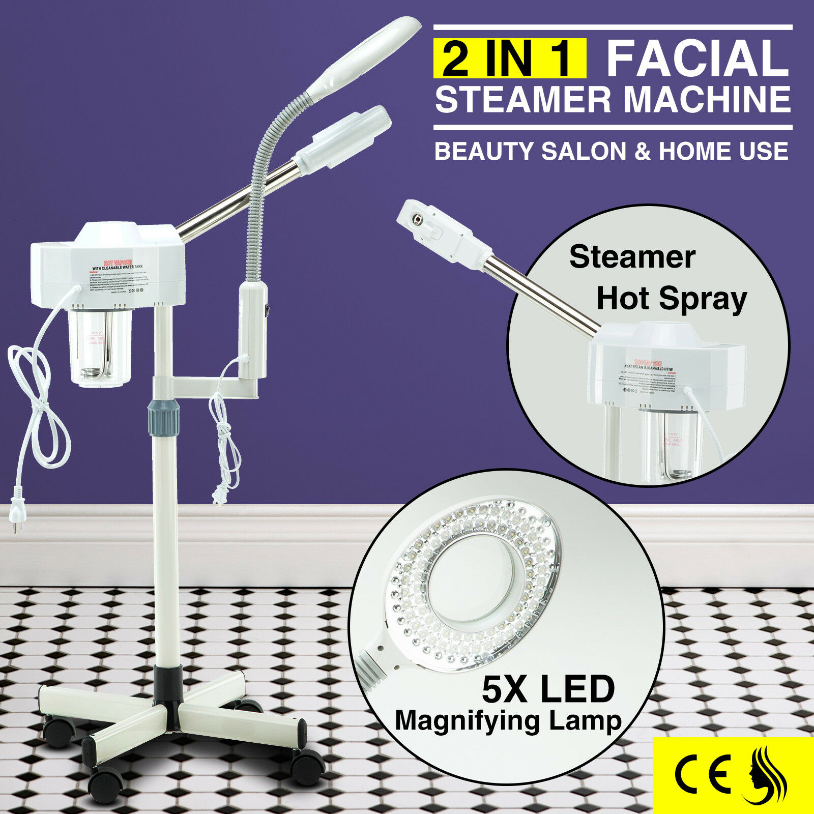 2 In 1 Facial Steamer Magnifying Lamp Professional Skin Care