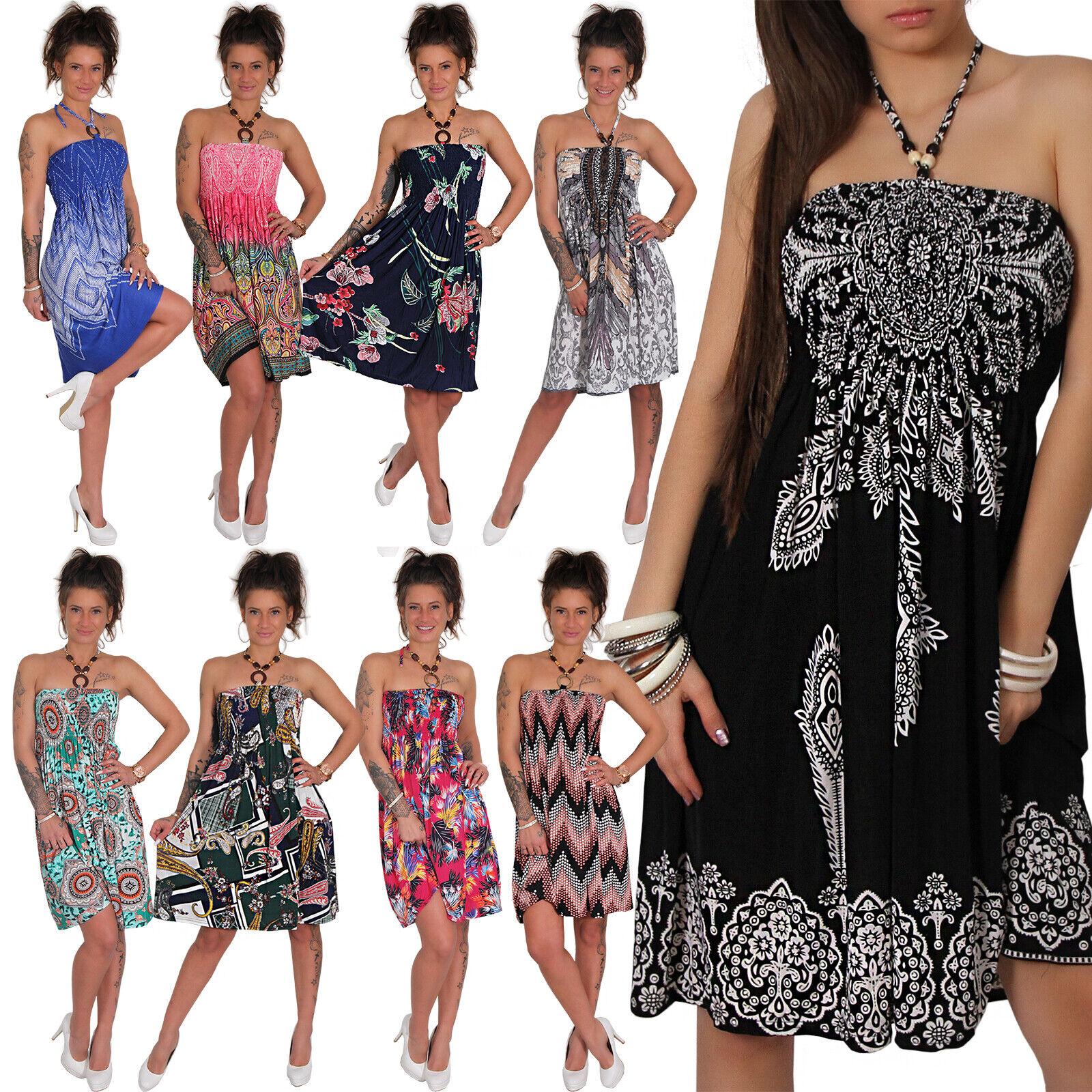 Sommer Bandeau Kleid Holz-Perlen Ethno Strandkleid Tuchkleid Tuch Aztec Azteken