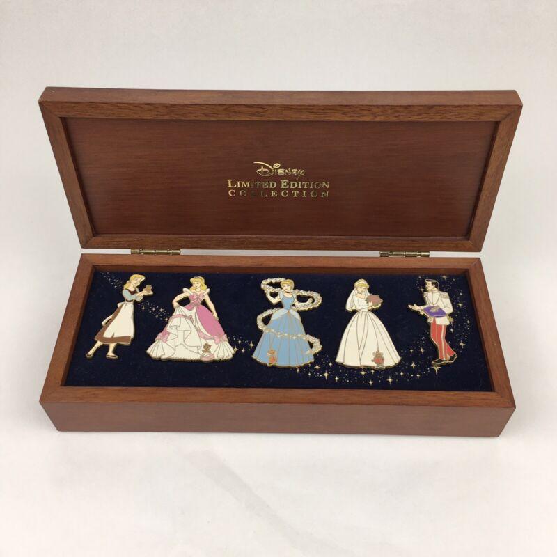 Disney Cinderella Set of 5 Official Trading Pins & Wood Box 2003 1/3000 HTF