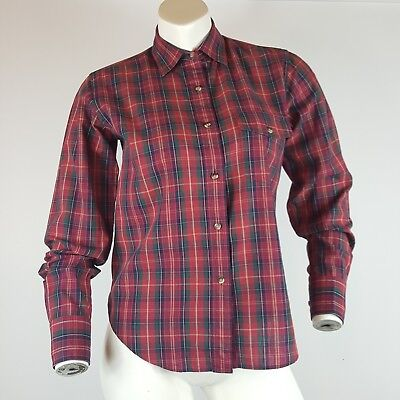 Vintage 90s Blouse At Nordstrom Womens Size 8 Long Sleeve Button Down Plaid Top