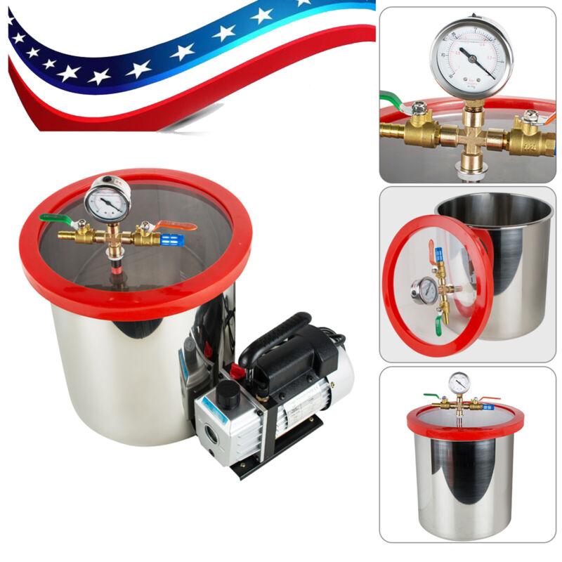 5 Gallon Vacuum Chamber & 3 CFM Single Stage Pump Degassing Silicone Kit Safe US