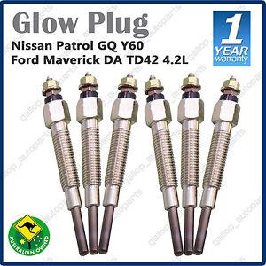 6 Glow Plugs for Nissan Patrol GQ Y60 Ford Maverick DA TD42 4.2L 6cyl Diesel