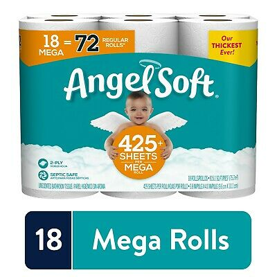 Angel Soft Toilet Paper, 18 Mega Rolls 72 Regular Rolls