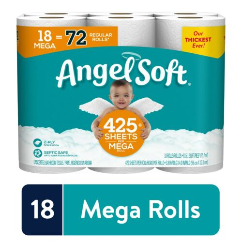 Angel Soft Toilet Paper, 18 Mega Rolls 72 Regular Rolls