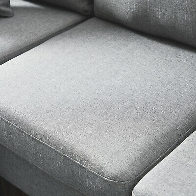 Linen Fabric Sectional Double Chaise Longue Combination L-Shaped Sofa LightGray