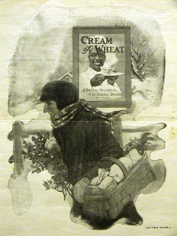 Wireman CREAM OF WHEAT Ad BRINGING HOME the HOLLY 1914 Matted