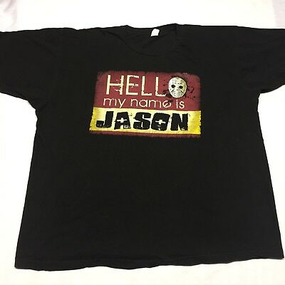 Hello My Name Is Jason Friday 13th XL T Shirt Horror Gore Movie Halloween Mask