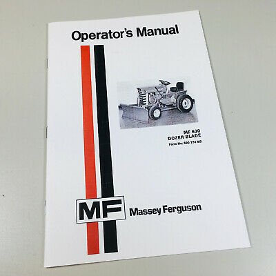 Massey Ferguson Mf 630 Tractor Dozer Blade Owners Operators Manual