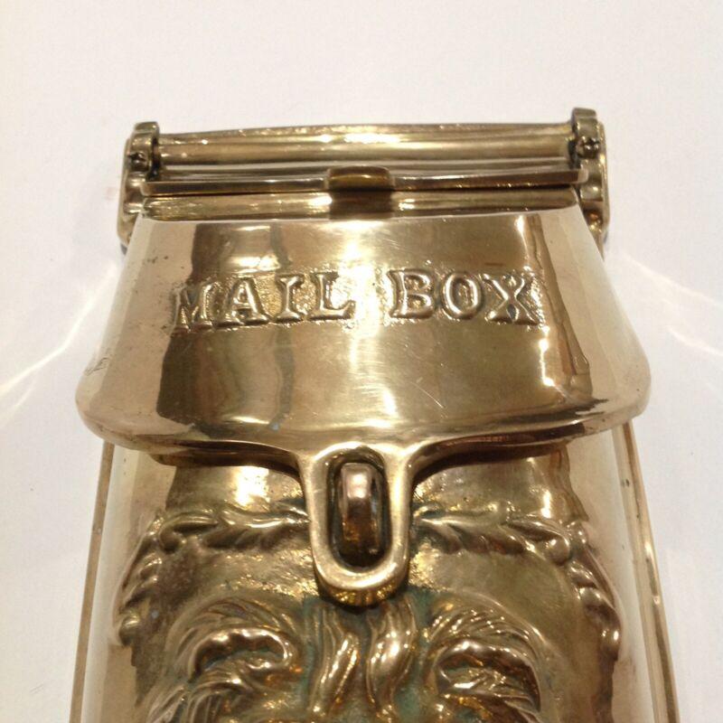 VINTAGE HEAVY BRASS LION HEAD Mailbox