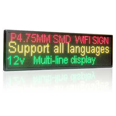Wifi Led Sign Programmable Scrolling Two Lines Shop Led Message Window Display