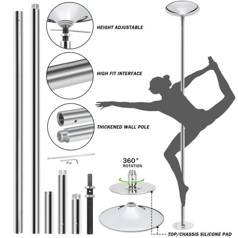 45mm Portable Dance Pole Static Spinning Stripper Keep Healthy Exercise Party