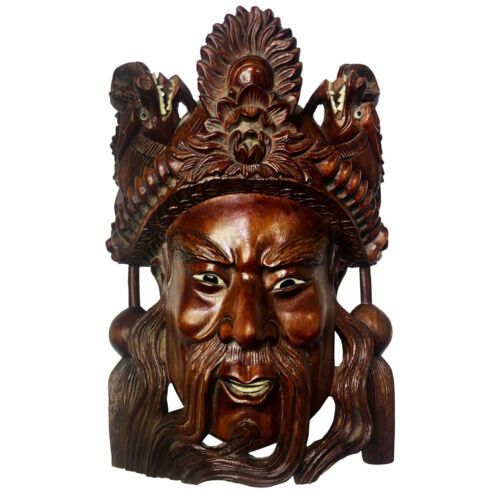 Vintage Chinese Emperor Heavily Carved Rosewood Mask with Dragon Motif