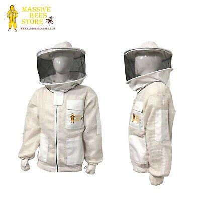 Bee Cloth 3 Layer Beekeeping Ventilated Jacket Brass Zipper Round Hat Veil --2xl