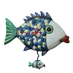 Fishy Lips Whimsical Pendulum Wall Clock 12x11 inches by Allen Designs