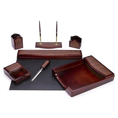 Majestic Goods 7 Piece Burgundy Oak W Leather Executive Office Desk Setw402