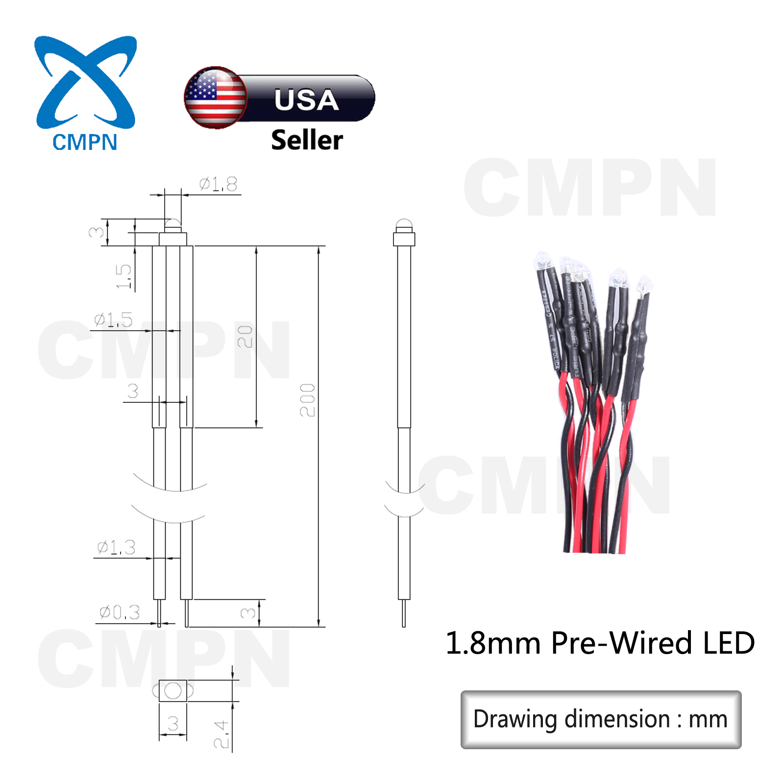 10Pcs 2mm Pre-Wired Round Top Diffused White Light Lamp DC 9-12v LED Diodes 20CM