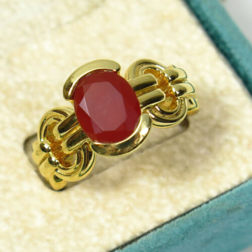 Sz 8 Rotenier Half Bezel Faceted Carnelian Gold Over Sterling Silver Ring 8.3g