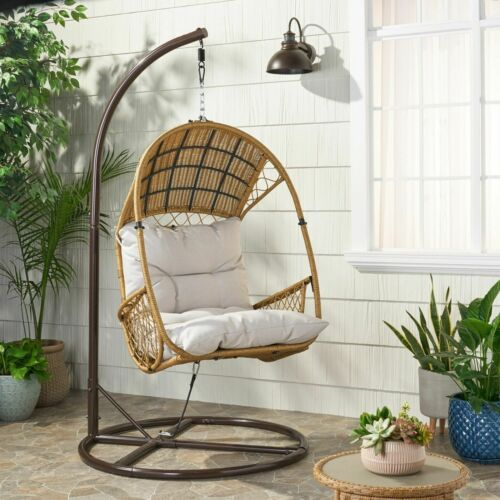 Primo Outdoor Wicker Hanging Basket Egg Chair with Stand Home & Garden