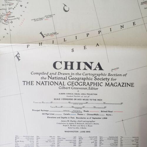 1945 National Geographic Society China Map