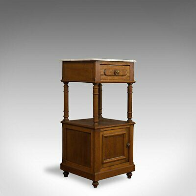 Antique Bedside Cabinet, French, Oak, Marble, Nightstand, Circa 1930