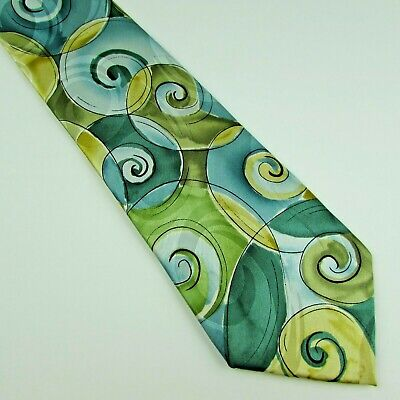 Jerry Garcia Emerging Elephant Silk Tie Collection Fifty Three Blue Green Yellow