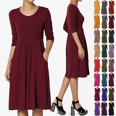 Stretch Jersey Dress (TheMogan Womens & Plus 3/4 Sleeve High Waist Pleated Stretch Jersey Midi)