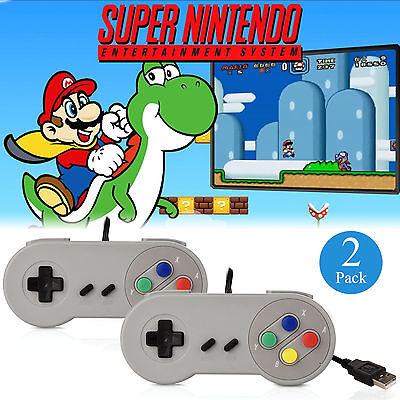 EEEKit 2 Packs SNES USB Controller Super Nintendo Games Retro Classic Gamepad US