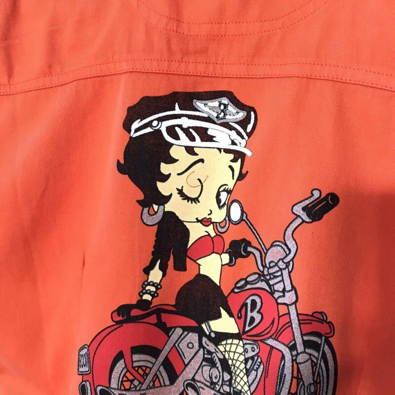 VTG NWT Betty Boop on a Motorcycle orange women's sleeveless jacket small S