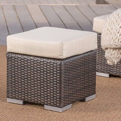 Santa Rosa Outdoor 16 Inch Wicker Ottoman Seat with Water Resistant Cushion ()