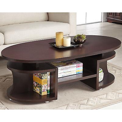 تربيزه جديد Furniture of America Modern Elliptical Multi-Shelf Walnut Coffee Table Decor NEW