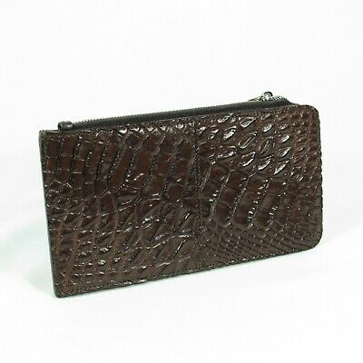 New Brown Genuine Crocodile Alligator Leather Skin Credit card Slim Wallet.