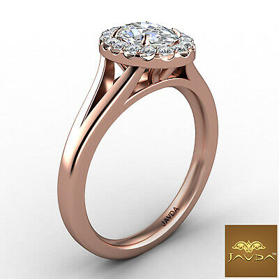 Halo Split Shank Oval Diamond Engagement French Pave Set Ring GIA F VVS1 0.70Ct 10