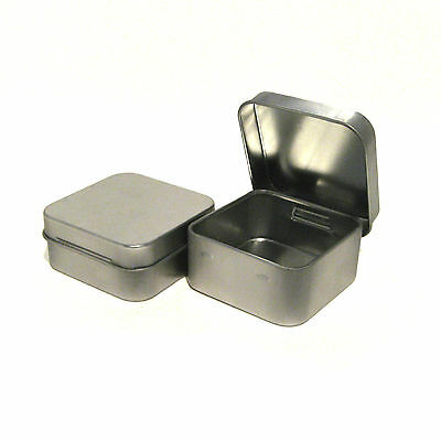 Small Silver Tin with Flip Top Lid Shower/ Wedding/ Party Gift Favor (Set of 6)