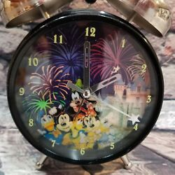 RARE Disney Castle Fireworks Mickey friends Alarm Desk Clock Home Office Decor