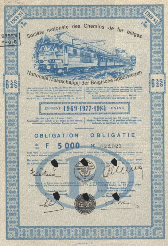 BELGIUM NATIONAL SOCIETY OF BELGIAN RAILWAYS BOND stock certificate