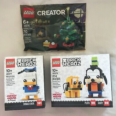 Lot LEGO CHRISTMAS TREE 30576 BRICKHEADZ DISNEY GOOFY PLUTO 40378 DONALD DUCK