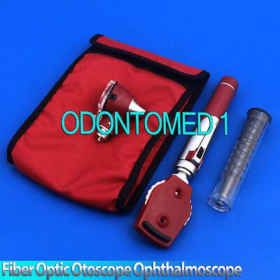 New Fiber Otoscope Ophthalmoscope Examination Led Diagnostic Ent Set -burgundy